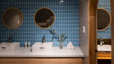 Image 16 of 38 from gallery of Komorebi Homestay / Architects. Photograph by Quang Tran Decor, Gallery, Interior, Round Mirror Bathroom, Modern, Home Decor, Mirror, Modern Retro, Retro Interior