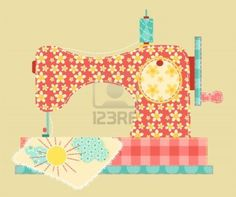 Sewing machine. Patchwork vintage series. Vector illustration. Stock Photo