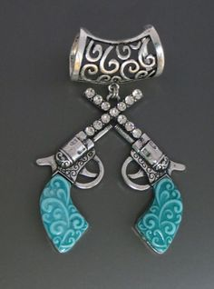 COWGIRL Bling Western Turquoise PISTOLS Guns Six Shooters RHINESTONES PENDANT  our prices are WAY BELOW RETAIL! all JEWELRY SHIPS FREE! www.baharanchwesternwear.com baha ranch western wear ebay seller id soloedition