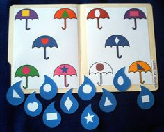 Umbrella & Raindrops Shape Matching...can create for matching uppercase to lowercase and written numbers to correct amount.