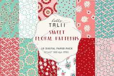 Sweet Florals Digital Paper by Hello Talii on @creativemarket