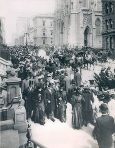 "Life in The Gilded Age -1900 - The ""Easter Parade"" on 5th Avenue, New York City - The Easter Parade was an American cultural event consisting of a festive strolling procession on Easter Sunday. The extraordinarily wealthy paraded fashionable clothing and strove to impress each other with their finery."