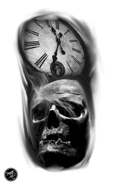 Caveiras Preto e Cinza - Downloads de desenhos Para tatuagens grátis Evil Skull Tattoo, Skull Tattoo Flowers, Skull Rose Tattoos, Body Art Tattoos, Sleeve Tattoos, Clock Tattoo Design, Skull Tattoo Design, Skull Design, Tattoo Designs