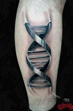 Metallic DNA 3D Tattoo
