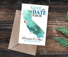 Printable Save the Date, City and State U.S. Map, Watercolor, Heart, Wedding Desitination Location, Custom