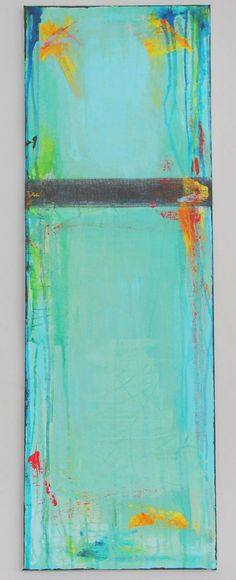 Abstract Painting Contemporary art painting fine art painting blue 12 x 36 by Cheryl Wasilow