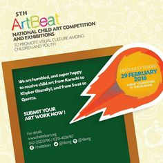 Extended Deadline: 10 February 2016  Call for Submissions - 5th ArtBeat 2016  5th ArtBeat - National Child Art Competition and Exhibitions 2016  To Promote Visual Culture Among Children and Youth  Details;  http://ift.tt/1L7Rk4x  #Visualculture #Artbeat #National #Painting #Competition #Exhibitions #Children #Youth #TLAORG #Pakistan