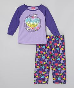 Another great find on #zulily! Purple 'Peace, Love, Hope' Pajama Set - Infant, Toddler & Girls #zulilyfinds