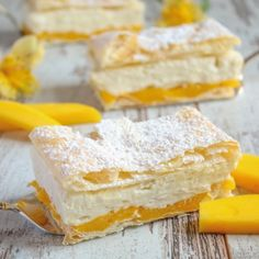 Mango Mille-Feuille, a fruity dessert with layers of puff pastry, mango puree and vanilla cream. Simply irresistible.