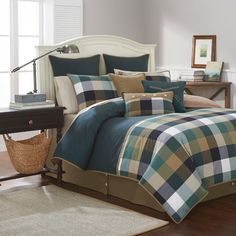 Features:  -No logo embroidery.  Product Type: -Comforter/Comforter set.  Style: -Rustic.  Color: -Green/Blue.  Pattern: -Plaid & Check.  Material: -Cotton.  Thread Count: -200.  Cleaning Method: -Mac