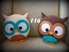 Felt owl pillows--for Rach Owl Crafts, Cute Crafts, Diy And Crafts, Arts And Crafts, Cushions To Make, Diy Pillows, Throw Pillows, Decorative Pillows, Accent Pillows