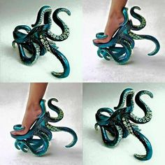 Stunning octopus Killer Heels worthy of Ursula in The Little Mermaid! Lady Gaga Vestidos, Crazy Shoes, Me Too Shoes, Weird Shoes, Funny Shoes, Shoe Art, Kraken, Unique Shoes, Mode Style