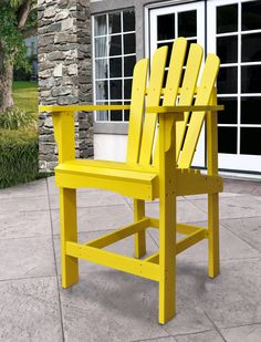 Westport Traditional Lemon Yellow Cedarwood Outdoor Counter High Chair Wood Adirondack Chairs, Patio Rocking Chairs, Patio Chairs, Wooden Chairs, Outdoor Bar Stools, Outdoor Chairs, Outdoor Decor, Patio Glider, Modern Outdoor Furniture
