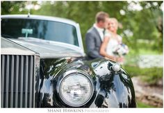 We love the Roll Royce with this beautiful couple at Dara's Garden in Knoxville, Tennessee with Shane Hawkins Photography. Roll Royce, vintage, old car, wedding.