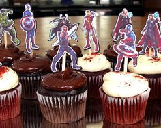 12 Marvel Avengers Birthday Party Cupcake Cake Toppers