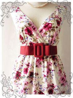 Floral Tea Dress Summer Red Pink Floral Light Cream Dress High Waisted Vintage Inspired Dress Cocktail Garden Dress Tea Party Dresses -S-M-