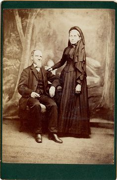 Mourning Couple. The woman is in full mourning, probably for a son or daughter, 1880's.