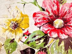 A medium weight cotton Barkcloth fabric from the 1940s.    This textile is a fantastic riot of colorful daisies and asters in a vivid palette of red,