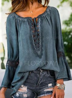 Latest fashion trends in women's Blouses. Shop online for fashionable ladies… Latest fashion trends in women's Blouses. Shop online for fashionable ladies' Blouses at Floryday – your favourite high street store. Fashion 2017, Latest Fashion Trends, Boho Fashion, Fashion Looks, Fashion Outfits, Womens Fashion, Fashion Tips, Fashion Design, Feminine Fashion