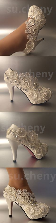 Wedding Shoes And Bridal Shoes: 3 4 Heel White Ivory Lace Crystal Pearls Wedding Shoes Pumps Bride Size 5-11 -> BUY IT NOW ONLY: $45.99 on eBay!