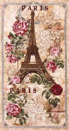 J.Raes Exclusive Altered Art Eiffel Tower Paris Fabric Block 8x10