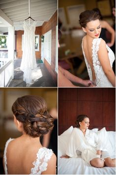 Bride - love the straps and the back of the dress, and her hair's cute too.