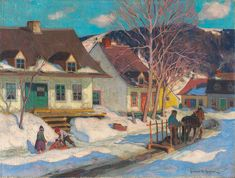 Clarence Gagnon born and died Montreal, Quebec, A Québec Village Street, Winter, 1920 oil on canvas x cm The Thomson Collection © Art Gallery of Ontario Canadian Painters, Canadian Artists, Clarence Gagnon, Art Gallery Of Ontario, Culture Art, Winter Painting, Landscape Paintings, Small Paintings, Art Prints