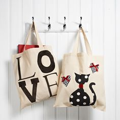 Decorated Tote Bags - I love making these, buy plain bags on eBay and then go craaazy decorating them!