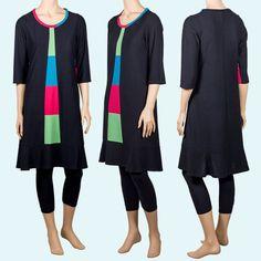 Vestido negro de manga 3/4 con franja de colores en el centro. Original, fresco y hecho en Barceona.
