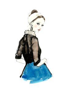Pretty fashion illustration - contemporary fashion drawing // Vita Yang