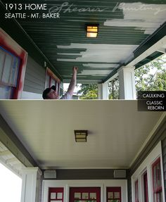 In the third image, we see the same porch area from a different view, on the right side, where you see all the clapboard siding in white pri...