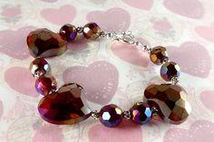 Red Crystal Heart Bracelet Valentines Day by NancysCrystalFantasi
