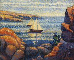 Sail Boats by the Coast - Charles Angrand - The Athenaeum Post Impressionism, Impressionist, Charles Angrand, Georges Seurat, Fauvism, French Art, Artist Art, Modern Art, Sailing