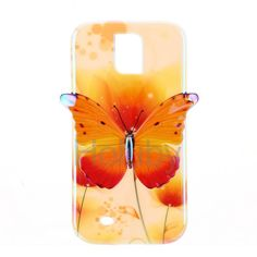 3D Blue-ray IMD Craft TPU Back Case for Samsung Galaxy S4 I9500 - Yellow Butterfly