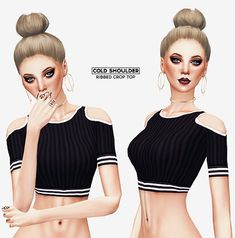 COLD SHOULDER ribbed crop top at Leeloo via Sims 4 Updates