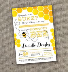 Mother to Bee! Baby Shower Invitation. DIY Gender Neutral Baby Shower Invite! Mom to be Invite. Yellow Baby Shower.