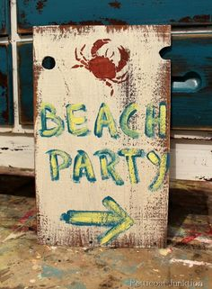 Are you ready for the  #GHCBeachDays  Pinterest Party?  This fun Diy Beach Party Sign Project by Petticoat Junktion is a great way to kick off a beach party