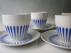 Set of 4 Lyngby Danmark Blue and White by GiddyNowVintage on Etsy 1950s