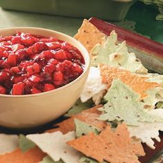 Cranberry-Mango Salsa withTree Chips...love the idea of making your own chips with a cookie cutter! Genius!