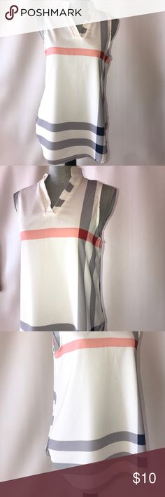 LiuSiRan striped tank White tank with a V neck. Blue and Red striped details LiuSiRan Tops Tank Tops