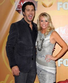 Luke Bryan at the 2010 ACM awards with his (insanely) lucky (and she better know it) wife Caroline Boyer