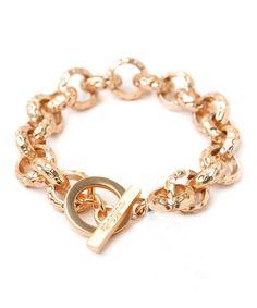 Hammered-Link Charm Bracelet