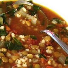 Barley and Lentil Soup with Swiss Chard Recipe - with quinoa in place of barley Vegetarian Lentil Soup, Vegan Soup, Vegetarian Meals, How To Cook Lentils, Swiss Chard Recipes, Vegan Recipes, Cooking Recipes, Crockpot Recipes, Spinach Soup
