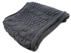 Charcoal Grey Thick Braid Infinity Twist Cable Knit Scarf