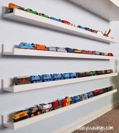 Toy Train Storage or dolls or books or cars, the list is endless! - Make your own decoration - Toy Train Storage or dolls or books or cars, the list is endless! Hot Wheels Display, Hot Wheels Storage, Kids Storage, Storage Ideas, Toy Car Storage, Baby Storage, Storage Organization, Playroom Storage, Bedroom Decor
