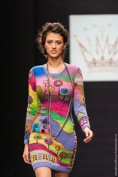 knitted by Anna Lesnikova Knitwear Fashion, Crochet Fashion, Freeform Crochet, Knit Crochet, Hand Knitting, Knitting Patterns, Moda Crochet, Crochet Clothes, Knit Dress