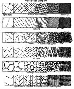 Basic drawing techniques using patterns, shapes and lines that progressively get darker to communicate depth. A combination of any of these techniques adds detail to your drawings. Principles Of Art Balance, Elements And Principles, Elements Of Art, Pencil Shading Techniques, Drawing Techniques, Texture Drawing, Basic Drawing, Drawing Tips, Drawing Ideas