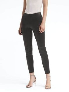 A sleek legging with the polish and structure of your favorite pants. Made in a luxe, vegan suede with a hint of stretch for a flattering, comfortable fit. Leather Leggings, Women's Leggings, Black Leggings, Black Pants, Black Jeans Women, Fit Black Women, Pants For Women, Petite Pants, Ankle Pants
