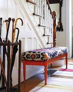 entryway --- love the umbrella stand