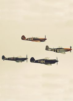 A flight of WWII fighters including a Mustang Ww2 Aircraft, Military Aircraft, Jean Loup Sieff, P51 Mustang, Supermarine Spitfire, Ww2 Planes, World War Two, Wwii, Fighter Jets